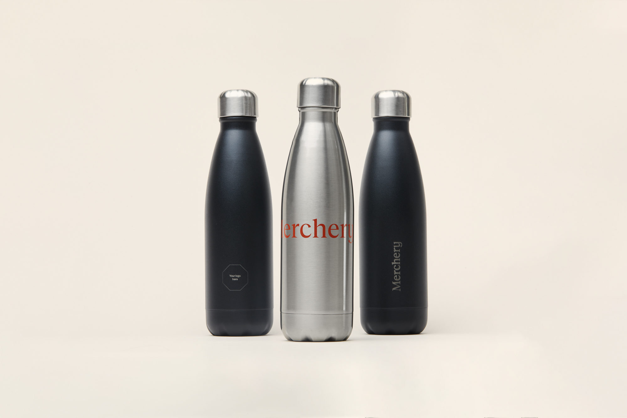 Merchery customized water bottle stainless steel 0.5L insulated sustainable promotional product black and red