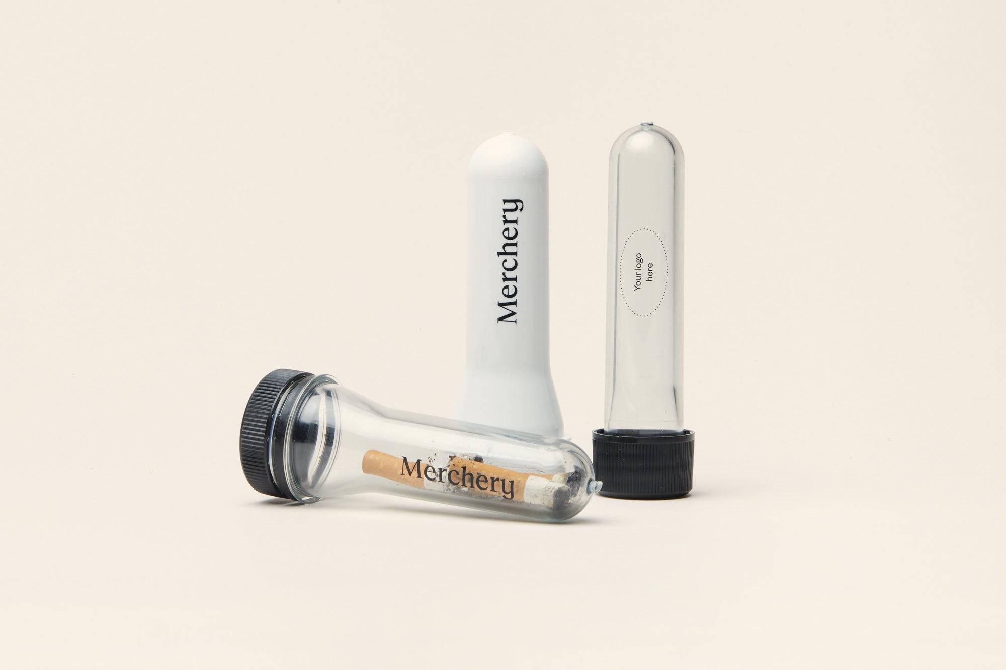 Merchery customized portable ashtray transparent white sustainable eco friendly thin