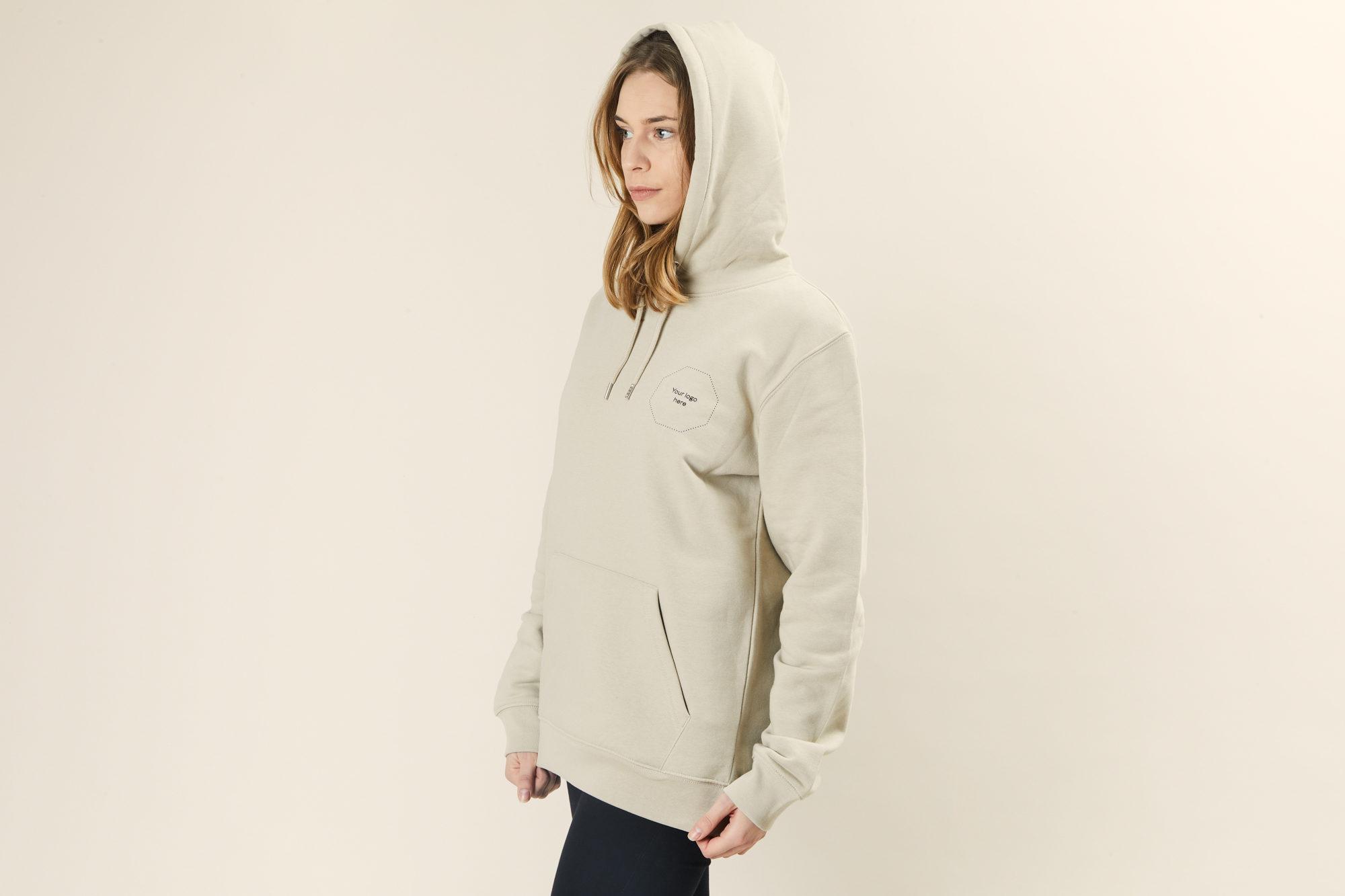 Sustainable branded hoodie Merchery organic cotton unisex green