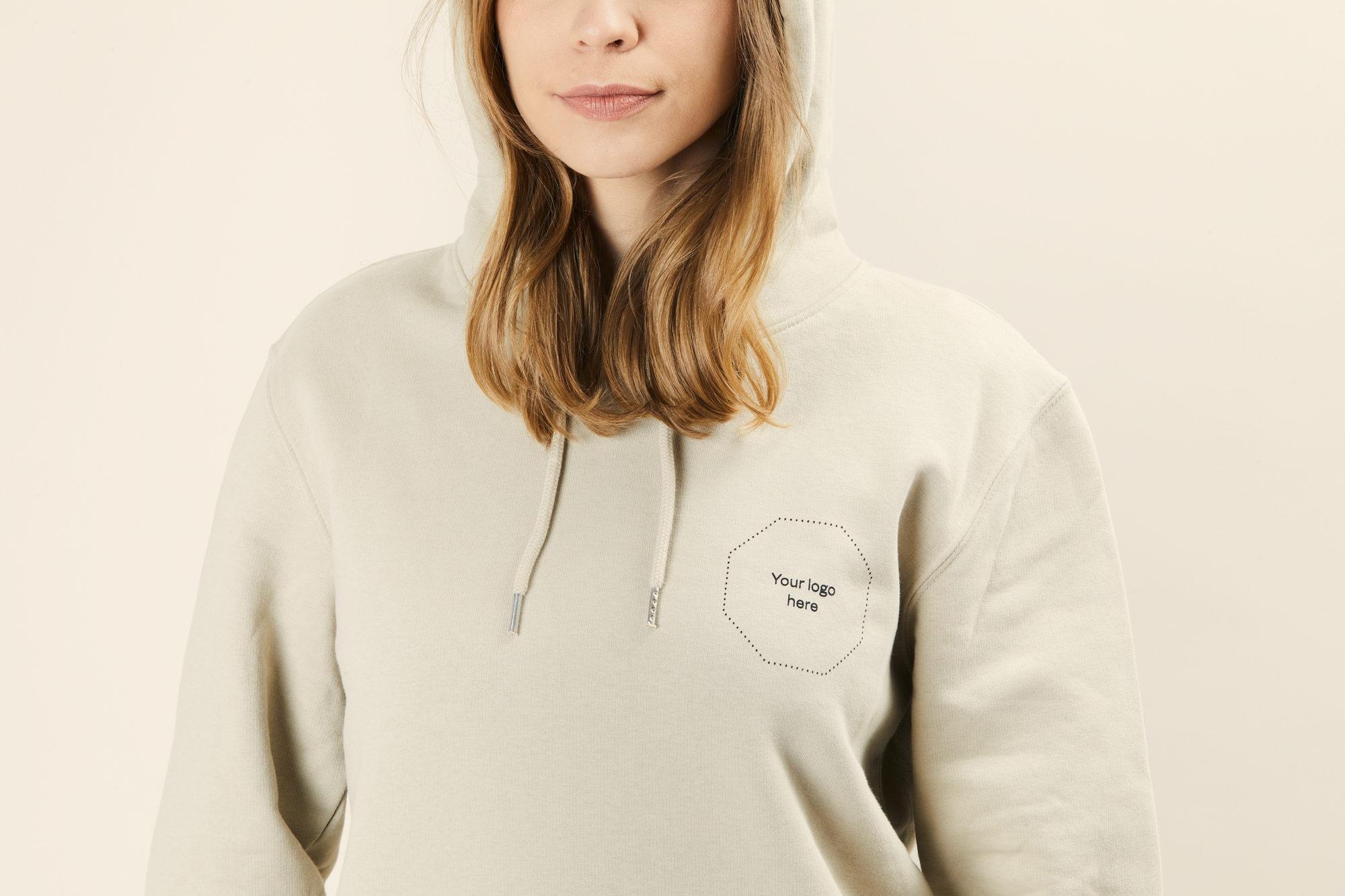 Sustainable branded hoodie Merchery organic cotton unisex desert dust