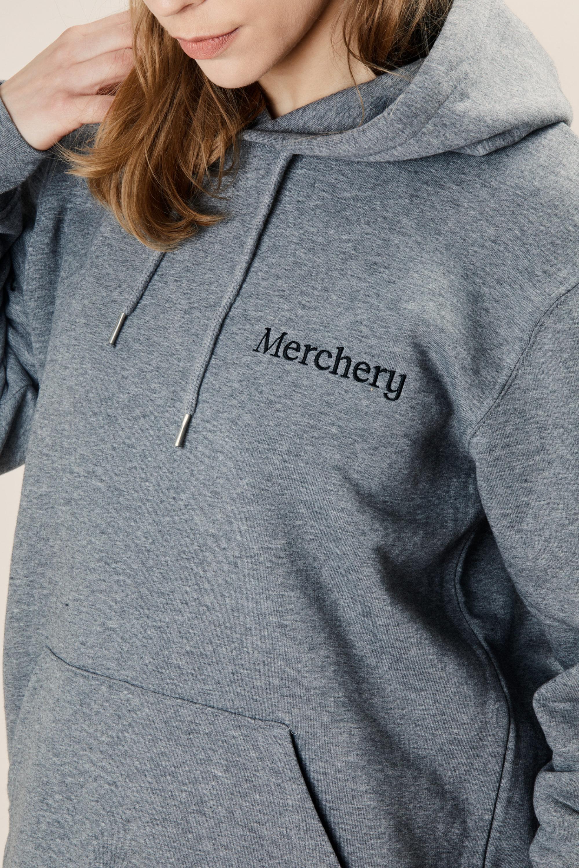 Sustainable branded hoodie Merchery organic cotton unisex grey