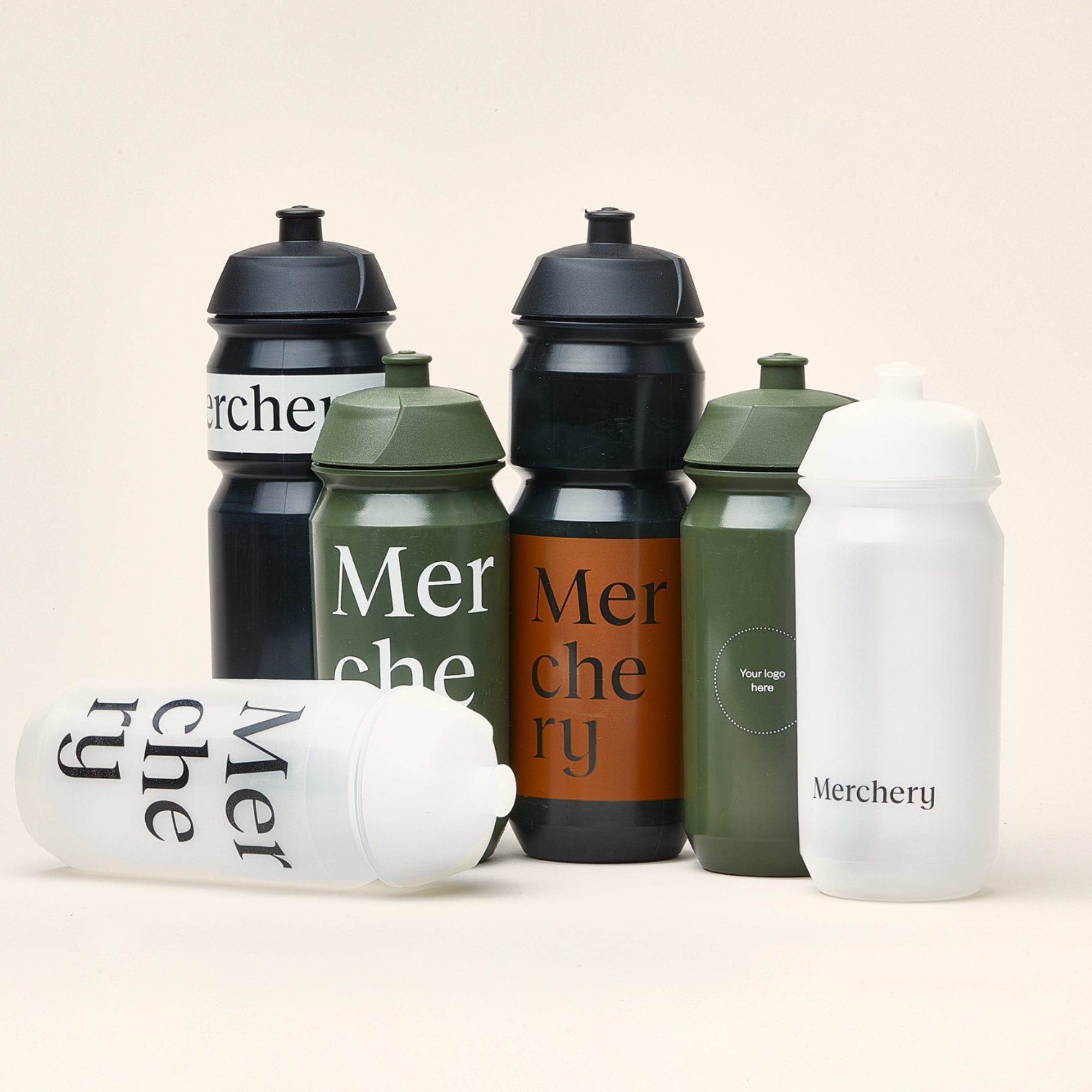 Merchery customized cycling bio bottle black white green all sizes eco friendly sustainable branded bottle