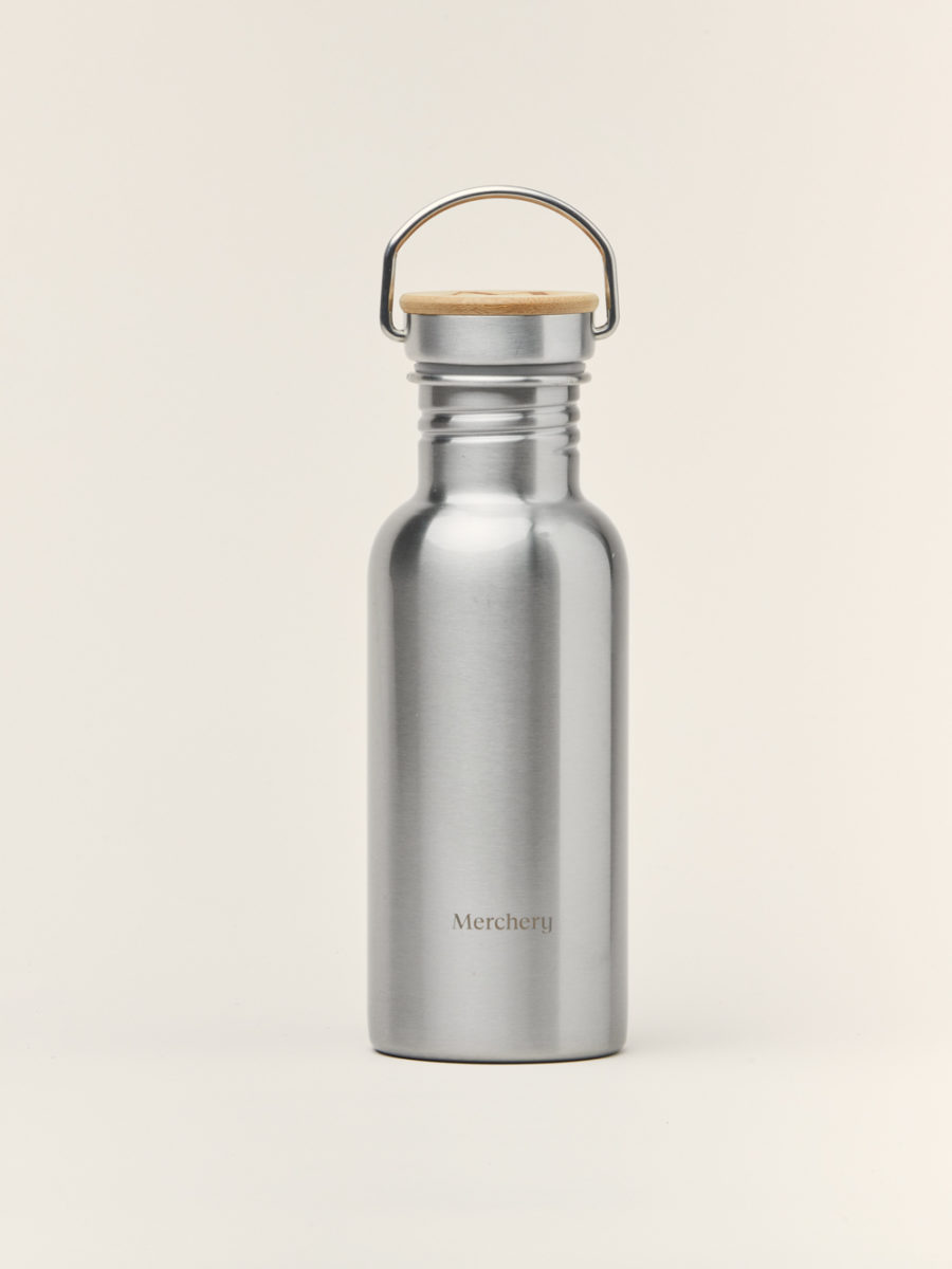 Merchery branded single wall stainless steel bottle