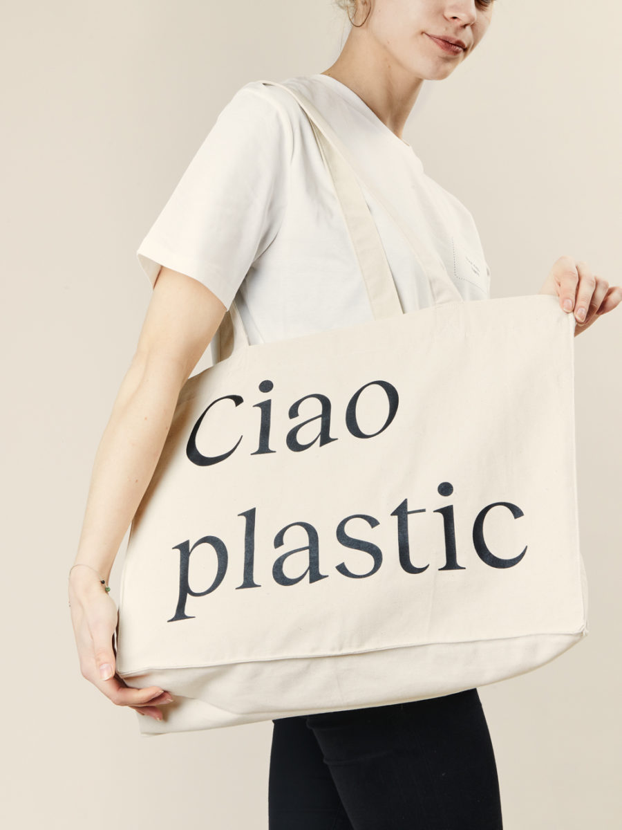 Merchery white promotional branded tote bag 100% organic coton