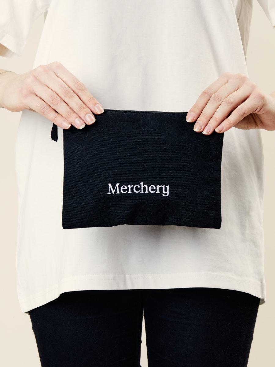 Merchery black pencil case branded promotional gift